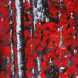 red forest, 10 x 28 inch, solina kumar,modern art paintings,nature paintings,paintings for dining room,paintings for living room,paintings for office,paintings for hotel,canvas,acrylic color,10x28inch,GAL0465110754Nature,environment,Beauty,scenery,greenery