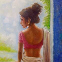 a beautiful woman waiting, 20 x 24 inch, sandeep rawal ,figurative paintings,paintings for living room,canvas,oil,20x24inch,GAL0251110756