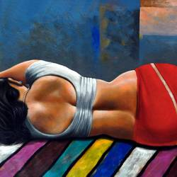 a beautiful woman sleeping, 34 x 22 inch, sandeep rawal ,figurative paintings,paintings for living room,canvas,acrylic color,34x22inch,GAL0251110757