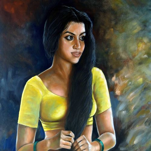 playful or beautiful woman, 28 x 32 inch, sandeep rawal ,figurative paintings,paintings for living room,canvas,oil,28x32inch,GAL0251110759
