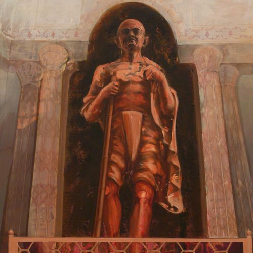 gandhi ji  cenotaph - acrylic on canvas - 69 x 52 inches -2011, 69 x 52 inch, ashis kumar das,conceptual paintings,paintings for living room,canvas,oil,69x52inch,GAL04451076