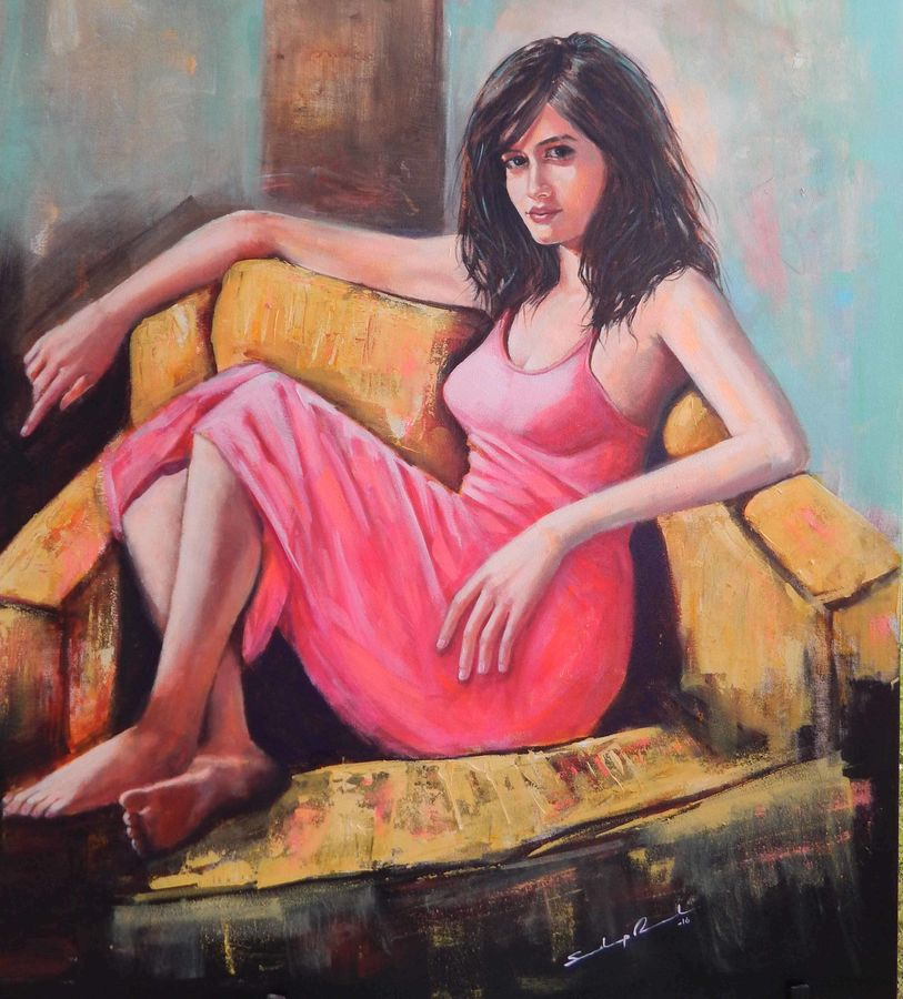 glamorous women, 45 x 48 inch, sandeep rawal ,figurative paintings,paintings for living room,paintings for living room,canvas,acrylic color,45x48inch,GAL0251110760