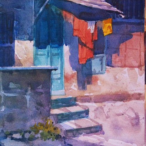 morning sprit, 8 x 12 inch, sachin shrimali,paintings,landscape paintings,paintings for living room,paintings for living room,paper,watercolor,8x12inch,GAL0465810782