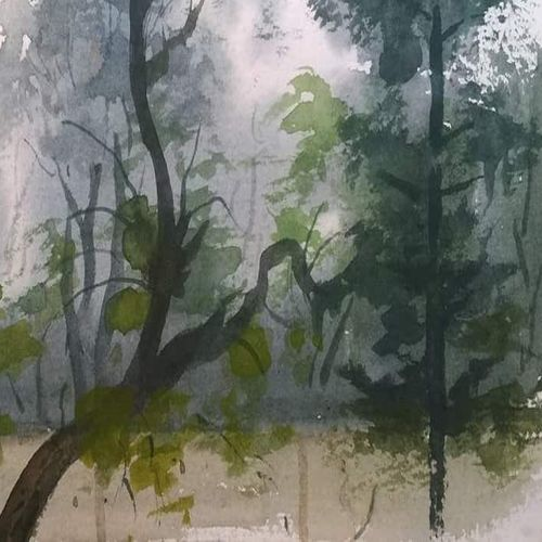 evening garden, 12 x 6 inch, sachin shrimali,paintings,landscape paintings,paintings for dining room,paintings for living room,paintings for office,paintings for hotel,handmade paper,watercolor,12x6inch,GAL0465810785