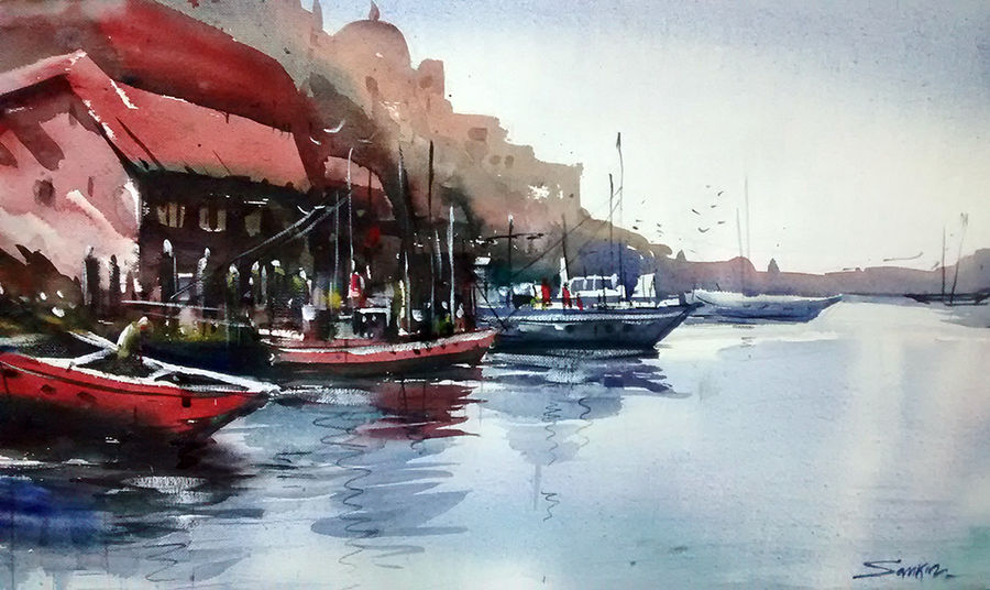nainital, 21 x 15 inch, sankar thakur,nature paintings,paintings for living room,fabriano sheet,watercolor,21x15inch,GAL07108Nature,environment,Beauty,scenery,greenery,trees,water,beautiful,leaves,flowers