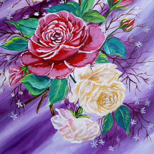 the roses, 16 x 20 inch, nafisa shaikh,paintings,flower paintings,paintings for living room,paintings for bedroom,paintings for living room,paintings for bedroom,canvas,acrylic color,16x20inch,GAL0304910808
