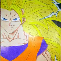 son goku ssj3, 12 x 17 inch, rohit singh,figurative drawings,graffiti drawings,paper,pencil color,12x17inch,GAL0467210811