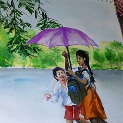 back to school, 11 x 13 inch, ananya kundu,paintings,nature paintings,paintings for office,paintings for hotel,thick paper,pastel color,11x13inch,GAL0437110814Nature,environment,Beauty,scenery,greenery