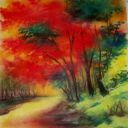 the spring, 11 x 14 inch, ananya kundu,paintings,nature paintings,paintings for living room,paintings for living room,thick paper,pastel color,11x14inch,GAL0437110818Nature,environment,Beauty,scenery,greenery