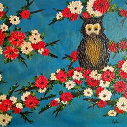 majestic owl - lucky charm, 23 x 17 inch, lizisha singh,paintings,abstract paintings,flower paintings,modern art paintings,nature paintings,animal paintings,paintings for living room,paintings for office,paintings for hotel,canvas board,oil,23x17inch,GAL0467510833Nature,environment,Beauty,scenery,greenery