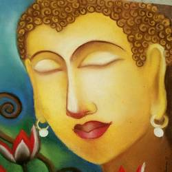 lord buddha with lotus, 10 x 14 inch, ananya kundu,paintings,buddha paintings,paintings for dining room,thick paper,pastel color,10x14inch,religious,peace,meditation,meditating,gautam,goutam,buddha,lord,brown,lotus,GAL0437110834