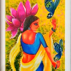 lady dancing with butterflies, 12 x 22 inch, sneha gupta,paintings,figurative paintings,paintings for living room,paintings for living room,hardboard,mixed media,pastel color,watercolor,12x22inch,GAL0467310836