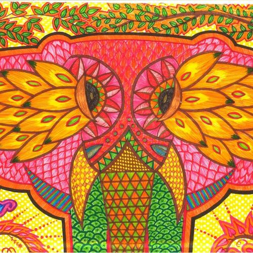 colourfull elephant falk art , 17 x 23 inch, sonal v,folk drawings,paintings for living room,thick paper,pen color,17x23inch,GAL0468110838