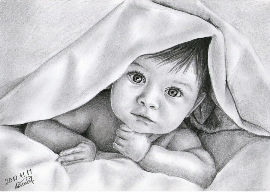cute baby, 11 x 16 inch, harpreet kaur,fine art drawings,paintings for bedroom,baby paintings,ivory sheet,charcoal,11x16inch,GAL04391084
