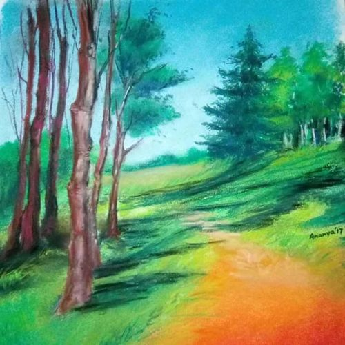 nature, 10 x 14 inch, ananya kundu,paintings,nature paintings,paintings for living room,paintings for living room,thick paper,watercolor,10x14inch,GAL0437110840Nature,environment,Beauty,scenery,greenery