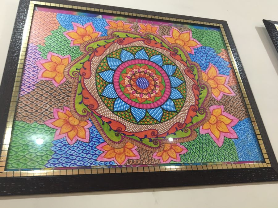 folk art with full of colour , 17 x 23 inch, sonal v,paintings for living room,folk drawings,paintings for living room,thick paper,pen color,17x23inch,GAL0468110841
