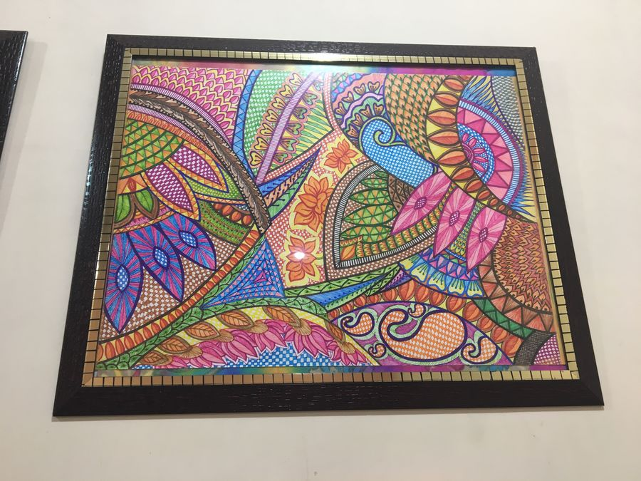 colorful expression of folk art, 17 x 23 inch, sonal v,folk drawings,paintings for living room,thick paper,pen color,17x23inch,GAL0468110842