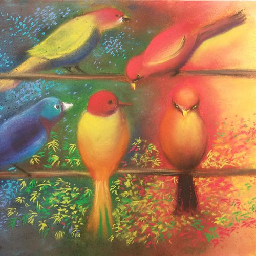 birds in colour, 14 x 10 inch, ananya kundu,paintings,nature paintings,paintings for living room,paintings for kids room,cartridge paper,pastel color,14x10inch,GAL0437110843Nature,environment,Beauty,scenery,greenery