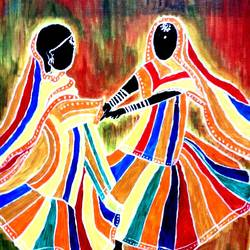 dancing women , 16 x 20 inch, shuchita srivastava,paintings,expressionist paintings,paintings for living room,canvas,acrylic color,16x20inch,GAL0398410846