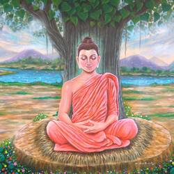 vipassana (lord buddha), 60 x 42 inch, sandeep rawal ,buddha paintings,paintings for living room,canvas,acrylic color,60x42inch,GAL0251110848