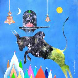 lord shiva nandi , 23 x 23 inch, sandeep rawal ,religious paintings,paintings for living room,lord shiva paintings,canvas,acrylic color,23x23inch,GAL0251110849