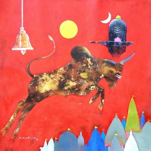 lord nandi , 23 x 23 inch, sandeep rawal ,religious paintings,impressionist paintings,contemporary paintings,paintings for dining room,paintings for living room,paintings for office,paintings for hotel,canvas,acrylic color,23x23inch,GAL0251110850