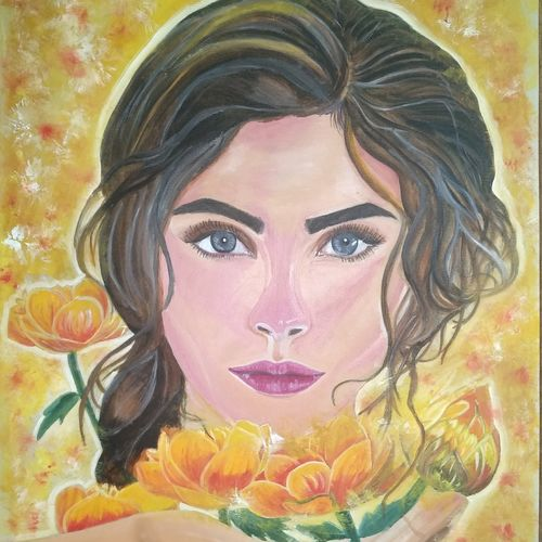fairy girl, 30 x 42 inch, meena patil,paintings,figurative paintings,flower paintings,paintings for dining room,paintings for living room,paintings for bedroom,paintings for office,paintings for kids room,paintings for hotel,canvas,oil,30x42inch,GAL0410810856