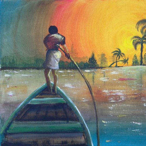 fisherman in kerala , 20 x 16 inch, suresh kyatham ,landscape paintings,paintings for living room,canvas,acrylic color,20x16inch,GAL04471088