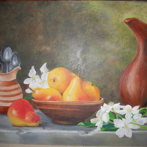pears and lillies, 16 x 24 inch, himanshi baid,still life paintings,paintings for dining room,paintings,canvas,oil,16x24inch,GAL03951091