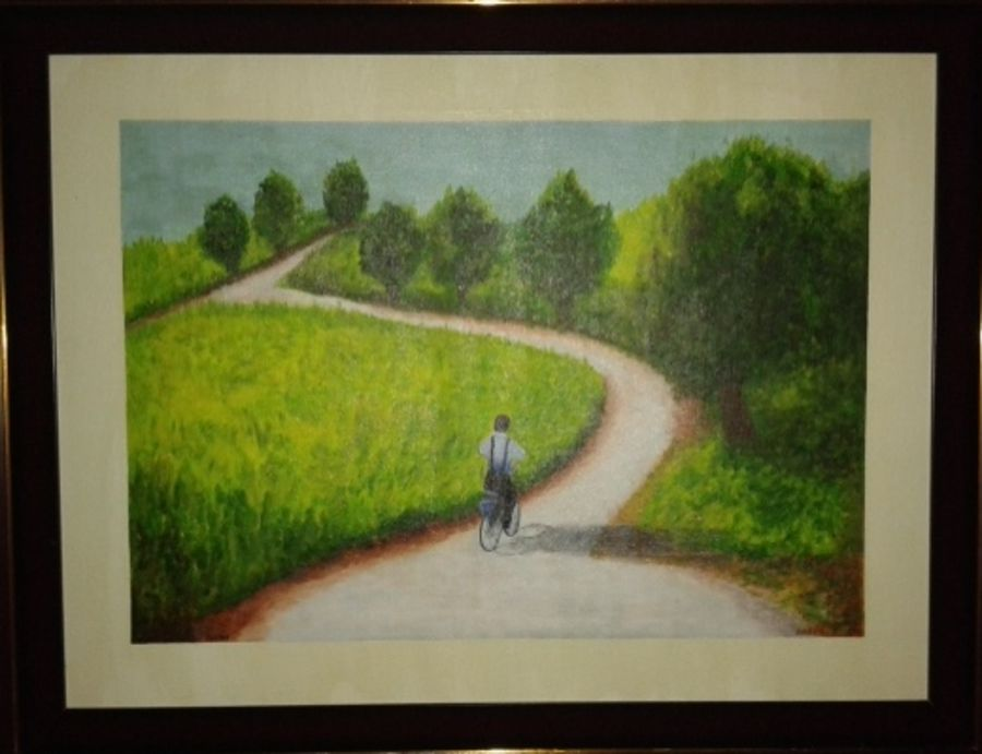 boy with bicycle, 24 x 18 inch, gogy artgaleri,landscape paintings,paintings for living room,canvas,acrylic color,24x18inch,GAL04061092