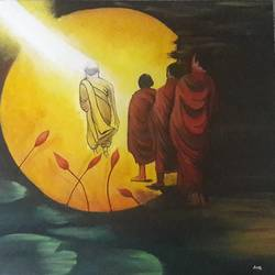 budha, 18 x 18 inch, ami  chavda,paintings,buddha paintings,religious paintings,paintings for living room,paintings for bedroom,paintings for hotel,canvas,oil,18x18inch,religious,peace,meditation,meditating,gautam,goutam,buddha,monks,blessing,flowers,GAL0469210929