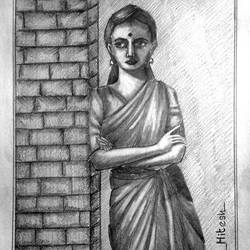 indiana woman, 11 x 14 inch, hitesh mondal,drawings,figurative drawings,paintings for living room,rice paper,pencil color,11x14inch,GAL0467110951