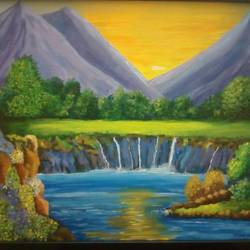 silent oasis, 17 x 21 inch, rana roy,paintings,landscape paintings,paintings for dining room,paintings for living room,paintings for bedroom,paintings for dining room,paintings for living room,paintings for bedroom,canvas,acrylic color,17x21inch,GAL0380410968