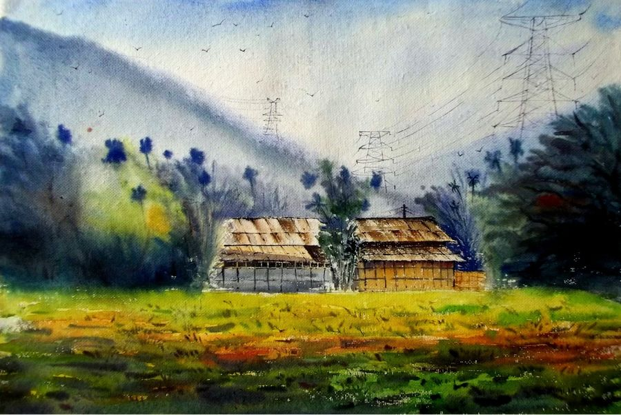 hill area in meghalaya, 22 x 14 inch, biki das,landscape paintings,paintings for living room,renaissance watercolor paper,watercolor,22x14inch,GAL04591097