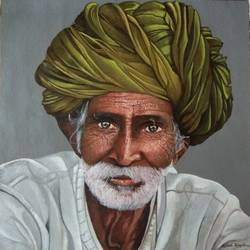 old man, 18 x 18 inch, pritesh rangole,paintings,realism paintings,paintings for living room,paintings for living room,canvas,acrylic color,18x18inch,GAL0471910972
