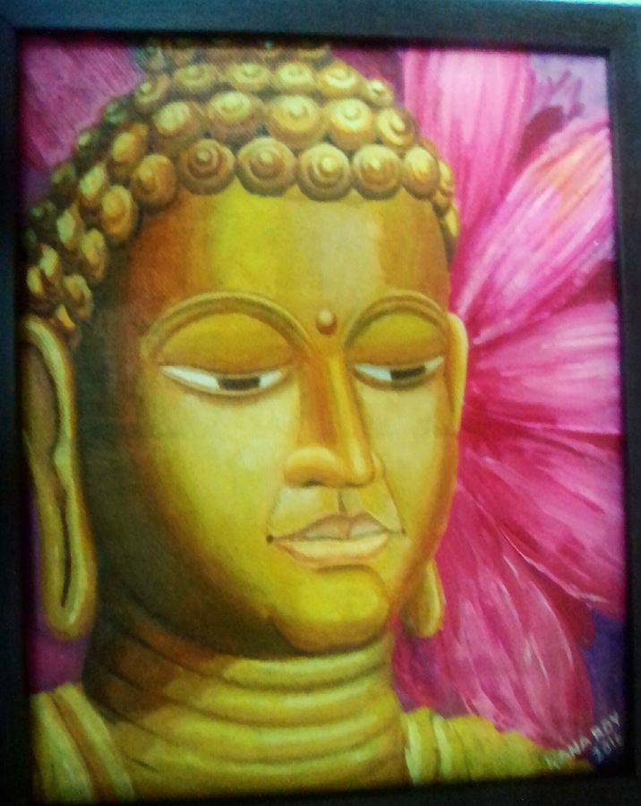 buddha with lotus, 9 x 11 inch, rana roy,paintings,buddha paintings,paintings for dining room,paintings for living room,paintings for bedroom,paintings for office,paintings for dining room,paintings for living room,paintings for bedroom,paintings for office,canvas,acrylic color,9x11inch,religious,peace,meditation,meditating,gautam,goutam,buddha,lord,golden,lotus,face,side face,GAL0380410974