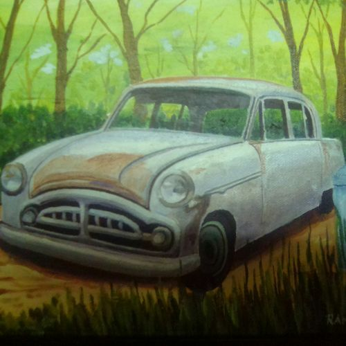 abandoned old car, 9 x 11 inch, rana roy,paintings,still life paintings,paintings for dining room,paintings for living room,paintings for bedroom,canvas,acrylic color,9x11inch,GAL0380410975