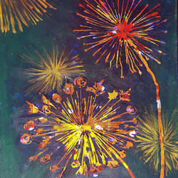 dandelions, 26 x 16 inch, masoom sanghi,paintings,abstract paintings,nature paintings,canvas,acrylic color,26x16inch,GAL057210988Nature,environment,Beauty,scenery,greenery,fire,firecrackers,rockets,burst,colorful