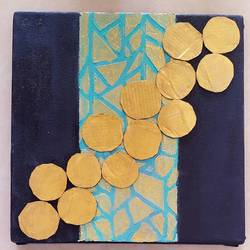 golden circles, 10 x 10 inch, masoom sanghi,paintings,abstract paintings,canvas,acrylic color,mixed media,10x10inch,GAL057210989