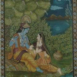 radha krishna, 17 x 14 inch, masoom sanghi,paintings,radha krishna paintings,paintings for living room,handmade paper,poster color,17x14inch,GAL057210993,radhakrishna,love,pece,lordkrishna,lordradha,peace,radha,krishna,devotion,couple,flute,music