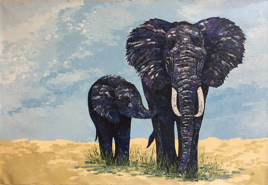 ma and baby elephant, 70 x 48 inch, shilpi singh patel,paintings,elephant paintings,paintings for hotel,canvas,acrylic color,70x48inch,GAL045510994