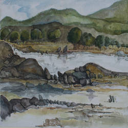 subarnarekha - the golden river, 18 x 12 inch, subir bardhan,paintings,landscape paintings,paintings for living room,paintings for hotel,cartridge paper,watercolor,18x12inch,GAL0436910998