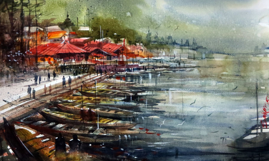 ­nainital tourist junction, 21 x 15 inch, sankar thakur,nature paintings,paintings for living room,fabriano sheet,watercolor,21x15inch,GAL07110Nature,environment,Beauty,scenery,greenery,,trees,water,beautiful,leaves,flowers,boat,nainital