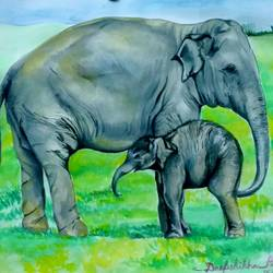 baby elephant with his mum, 16 x 12 inch, deepshikha bishoyi,paintings,wildlife paintings,animal paintings,elephant paintings,paintings for dining room,paintings for living room,paintings for bedroom,paintings for office,paintings for kids room,paintings for hotel,paper,watercolor,16x12inch,GAL0473911005