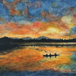 dawn of dal lake kashmir, 16 x 12 inch, suhani goel,nature paintings,paintings for living room,paintings,renaissance watercolor paper,watercolor,16x12inch,GAL04621101Nature,environment,Beauty,scenery,greenery,trees,water,beautiful,leaves,sunset,boat