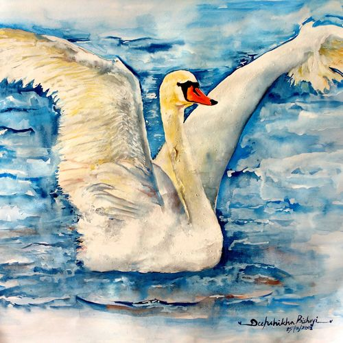 the elegant swan, 23 x 17 inch, deepshikha bishoyi,paintings,wildlife paintings,modern art paintings,nature paintings,animal paintings,realistic paintings,water fountain paintings,paintings for dining room,paintings for living room,paintings for bedroom,paintings for office,paintings for hotel,paper,mixed media,poster color,watercolor,23x17inch,GAL0473911014Nature,environment,Beauty,scenery,greenery