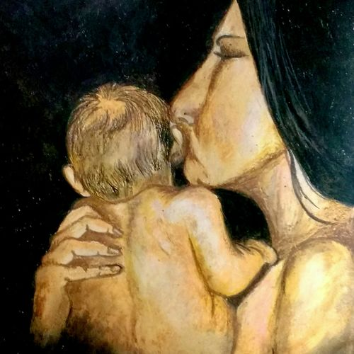 mum and baby, 16 x 12 inch, deepshikha bishoyi,paintings,contemporary paintings,realistic paintings,love paintings,baby paintings,paintings for dining room,paintings for living room,paintings for bedroom,paintings for office,paintings for hotel,paper,pastel color,16x12inch,GAL0473911016heart,family,caring,happiness,forever,happy,trust,passion,romance,sweet,kiss,love,hugs,warm,fun,kisses,joy,friendship,marriage,chocolate,husband,wife,forever,caring,couple,sweetheart