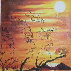 three steps of life, 18 x 24 inch, sandhya kumari,paintings,landscape paintings,nature paintings,paintings for dining room,paintings for living room,paintings for hotel,paintings for dining room,paintings for living room,paintings for hotel,cloth,acrylic color,18x24inch,GAL0365911017Nature,environment,Beauty,scenery,greenery