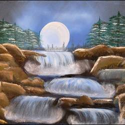 moonlight waterfalls , 20 x 16 inch, suresh kyatham ,landscape paintings,paintings for living room,canvas,oil,20x16inch,GAL04471102