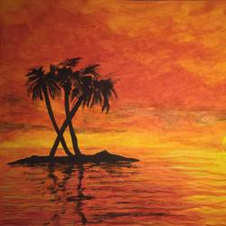 tropical beach sunset, 16 x 12 inch, suhani goel,nature paintings,paintings for living room,love paintings,renaissance watercolor paper,watercolor,16x12inch,GAL04621103Nature,environment,Beauty,scenery,greenery,trees,water,beautiful,leaves,island,coconut tree